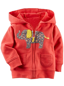 Ericdress Animal Patch Hooded Zipper Girls Top