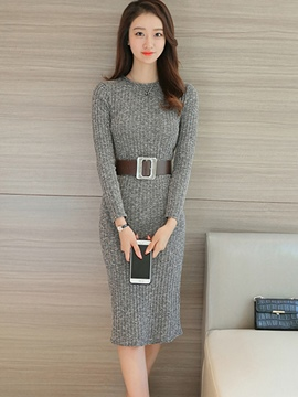 Ericdress Plain Straight Round Neck Sweater Dress