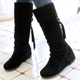 Ericdress Suede Round Toe Knee High Boots