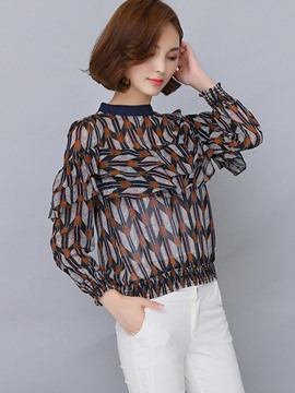 Ericdress Printed Frill Blouse