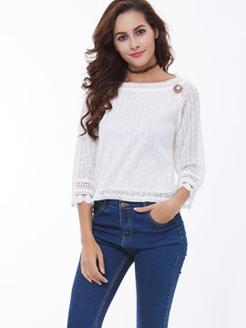 Ericdress Appliques Crochet Embroidery Blouse