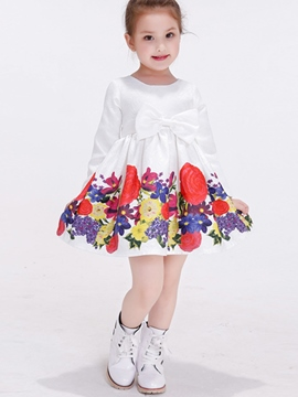 Ericdress Floral Cotton Printed Bowknot Patchwork Pleated Girls Dresses