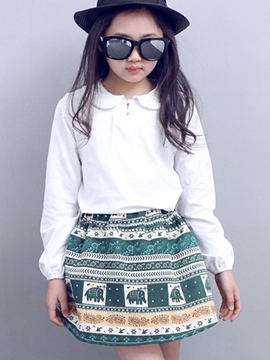 Ericdress Bohemian Printed Peter Pan Collar Two-Piece Girls Outfit