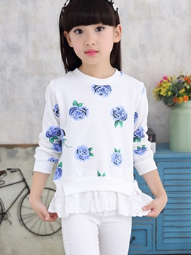 Ericdress Floral Printed Lace Patchwork Girls Top
