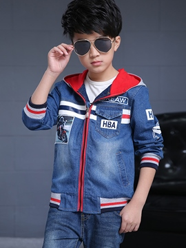 Ericdress Hooded Digital Printing Denim Worn Boys Tops