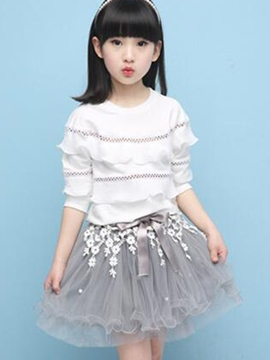 Ericdress Hollow Patchwork Layers Falbala Lace Floral Two-Piece Girls Outfit