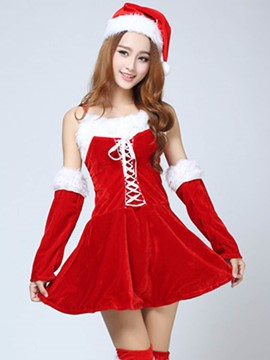 Ericdress Patchwork Fur Hem Lace-Up Santa Cosplay Christmas Costume