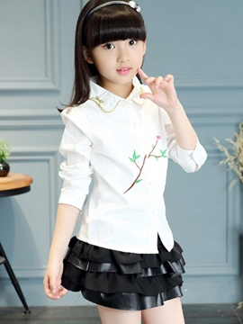 Ericdress Embroidery Lace-Trim Collar Girls Top