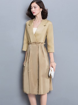 Ericdress Slim Patchwork Trench Coat