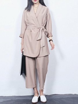 Ericdress Casual Stripe Blazer Suit