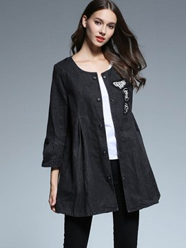 Ericdress Slim A-Line Plested Denim Trench Coat