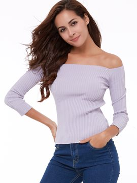 Ericdress Slim Slash Casual Knitwear