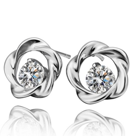 Ericdress White Zircon Stud Earrings