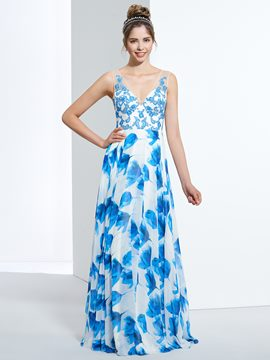 Ericdress A-Line V-Neck Appliques Button Floor-Length Prom Dress