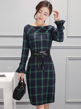 Ericdress England Style Plaid Sheath Dress