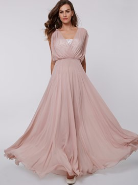 Ericdress A Line Chiffon Lace Strapless Floor Length Evening Party Dress