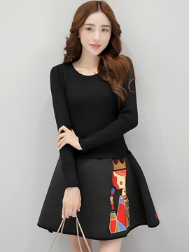Ericdress Knitted Patchwork Round Neck Casual Dress
