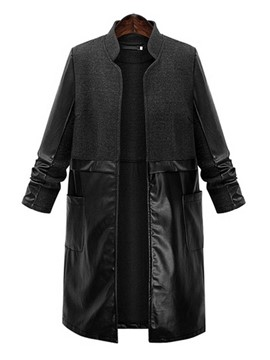 Ericdress Solid Color PU Patchwork Plus Size Coat