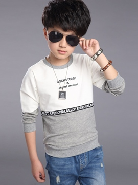 Ericdress Patchwork Letter Print Boys Top