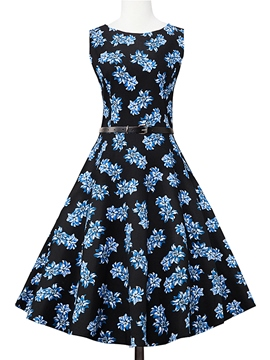 Ericdress Vintage A-Line Print Sleeveless Summer Casual Dress