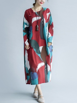 Ericdress Autumn Loose Print Long Sleeve Maxi Dress