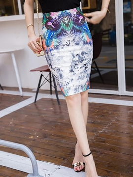 Ericdress Unique Print Column Skirt