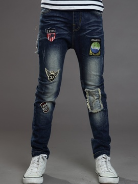 Ericdress Denim Worn badge Patch Burr Boys Bottom