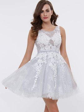 Ericdress Short A Line Lace Applique Lace Up Back Tulle Cocktail Dress
