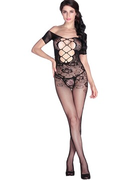 Ericdress Open Crotch Cross Hollow Sexy Pantyhose