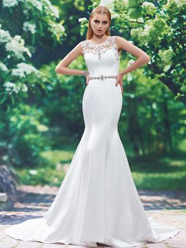 Ericdress Beautiful Appliques Beaded Scoop Mermaid Wedding Dress
