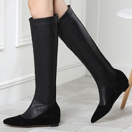 Ericdress Patchwork PU Point Toe Knee High Boots