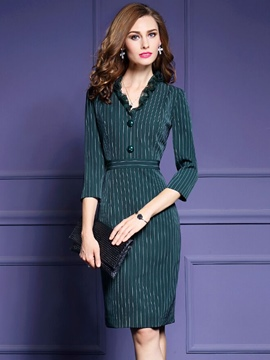 Ericdress Stripe Patchwork V-Neck Sheath Dress