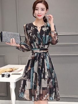 Ericdress Chiffon Long Sleeve A-Line Casual Dress