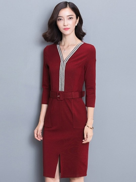Ericdress V-Neck Patchwork Belt Sheath Dress