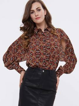 Ericdress Printed Chiffon Hole Blouse