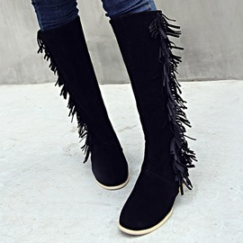 Ericdress Suede Tassels Knee High Boots