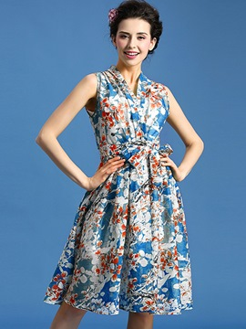 Ericdress Summer Sleeveless Print Boho Casual Dress