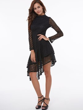 Ericdress Solid Color Asymmetric Patchwork Casual Dress