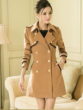 Ericdress Color Block Double-Breasted Polo Slim Coat