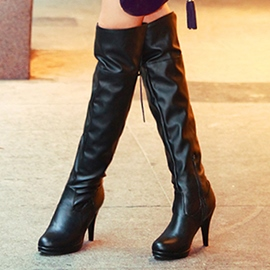Ericdress Elegant PU Ultra-High Stiletto Heel Knee High Boots