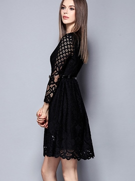 Ericdress Lace Patchwork Little Black Dress