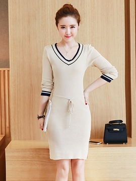 Ericdress Autumn Solid Color Knit Long Sleeve Bodycon Dress