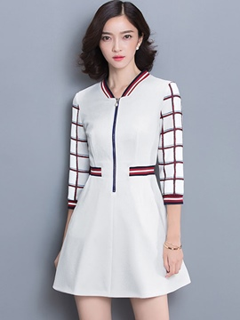 Ericdress Plaid Zipper Patchwork Casual Dress