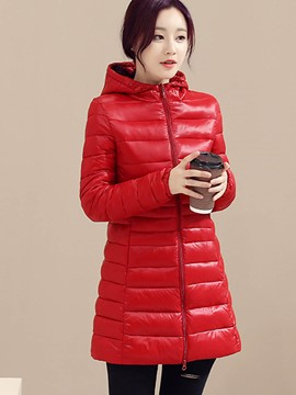 Ericdress Slim Hooded Plus Size Coat