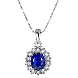 Ericdress Blue Gemstone Pendant Necklace