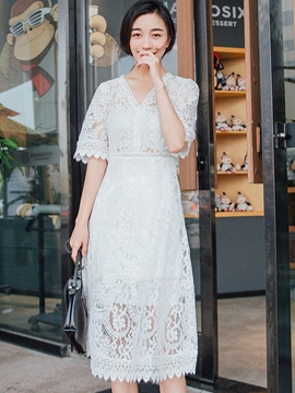 Ericdress Summer Solid Color Short Sleeve Long Lace Dress