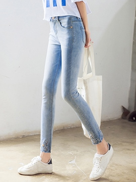 Ericdress Simple Unique Embroidery Jeans