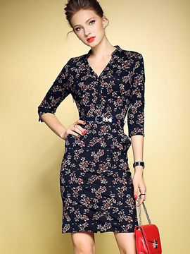 Ericdress Floral Print Three-Quarter Sleeve Bodycon Dress