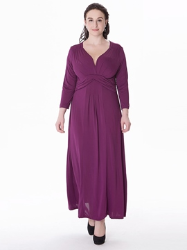Ericdress Plain Pleated V-Neck Plus Size Maxi Dress