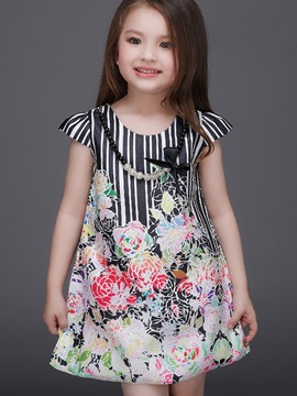 Ericdress Necklace Strip Floral Girls Dress
